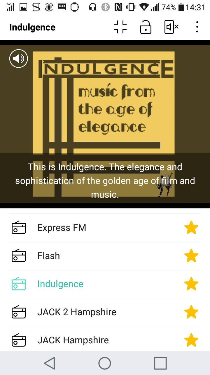 Indulgence slideshow as seen on LG Stylus 2 DAB+ mobile phone.